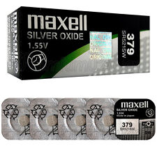 5 x Maxell 379 Silver Oxide batteries 1.55V SR521SW V379 D379 Watches 0% Mercury