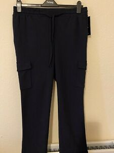 Navy combat cargo trousers with Pockets UK size S 14 elasticated waist