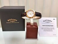 New ROTARY Ladies watch Brown leather Strap Swarovski RRP £179! GIFT for Her !