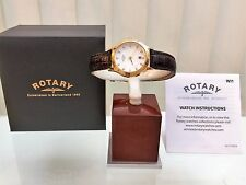 New ROTARY Ladies watch Gold & Brown leather Strap RRP £179 Swarovski IDEAL GIFT
