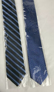 2 KAI LONG HAND MADE 100% SILK TIES ~ BLUE ~ Brand New Without Tags