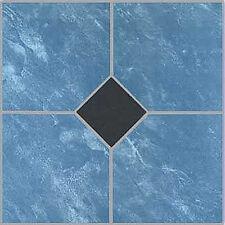 Blue Vinyl Floor Tile 20 Pcs Adhesive Bathroom Flooring - Actual 12'' x 12''