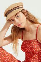 Brixton Kayla Straw 100% Paper Leather Tan Cap Fiddler Newsboy Hat NEW Size M