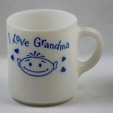 Milk Glass Coffee Cup Mug I Love Grandma Blue Vintage