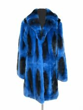 CHINCHILLA REX FUR ROYAL BLUE FULL SKIN COAT JACKET VEST 7/8 LUXOR LEATHERS FURS