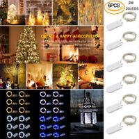 6x Micro LED Draht Lichterkette mit 20 LED Batteriebetrieb Tischdeko 2M