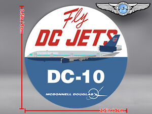 UNITED AIRLINES UA ROUND BATTLESHIP GREY DC10 DC 10 FLY DC JETS DECAL / STICKER