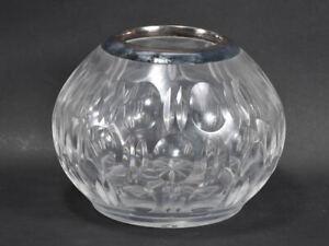 h17d30- Kristallglas Vase mit 800er Silberrand