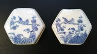 Rare Pair Blue White Porcelain Hexagon Box Ginger Jar Birds Floral Asian Motif