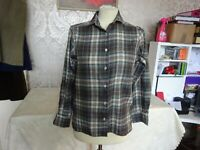 Ladies French Connection Shirt Blouse Gren Green Tartan Check Size S 10 -12