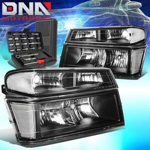 FOR 2004-2012 CHEVY COLORADO/GMC CANYON BLACK/CLEAR HEADLIGHT BUMPER LAMP+TOOLS