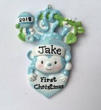 Personalized Blue Monkey Baby Boy's First Christmas Ornament Newborn Grandchild