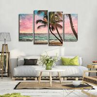 Tropical Beach Palm Trees Seascape 4 Panel Canvas Print Wall Art Poster
