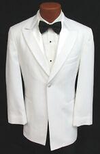 Men's White Tuxedo Jacket Shiny Satin Lapels Bond 007 Spy Prom Halloween 37R