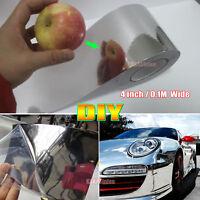4inch Wide Adhesive Glossy Mirror Chrome Vinyl Wrap Car Sticker Tape Silver - AB