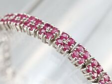 925 Sterling Silver Ruby Round Tennis Link Bracelet 14k White Gold Finish