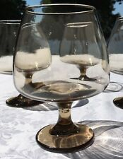 Mid Century Modern Brandy Scotch Snifters Glasses SET 4 Clear smoked Vintage FAB