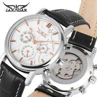 JARAGAR Men Analog Day Date Leather Band Automatic Mechanical Wrist Watch Reloj