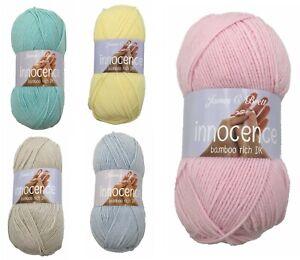 James C Brett DK Innocence Double Knitting Clearance- 5 Shades