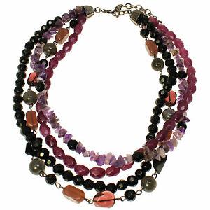 Semi-precious & amethyst stone multi-strand bead short fitting necklace jewelry