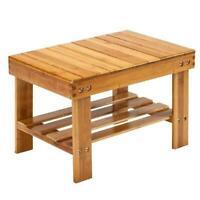 2 Tiers Children Bench Stool Short Shower Chair Bamboo Seat Storage Rack Holder