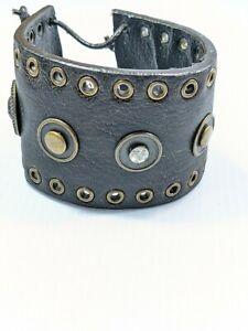 Artisan Brown Leather Bronze Tone Adjustable Wide Cuff Bracelet