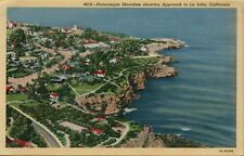 Air Aerial View Picturesque Shoreline Approach to La Jolla CA Postcard B31
