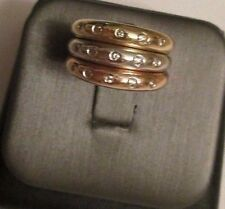 14K Tri-color Gold Diamond Stackable Rings Dia=.12 F-VS2  8.0 Gram 4 MM Wide ea.