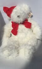 "Merry Christmas Ganz White Bear Plush With Red Hat & Ribbon 24"" New With Tags"
