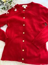 Pack And Pack Cashmere Red Cardigan Size Medium Gold Buttons