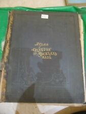 RAREST W.A. SHERMAN'S ATLAS OF ABINGTON AND ROCKLAND MASS 1874 COLORED MAPS 4TO