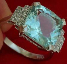Stunning! Platinum Art Deco Huge 5.62Ct! Aquamarine Ring Engagement Ring Size N