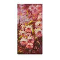 NY Art - Impressionist Flower Garden 12x24 Original Oil Painting on Canvas