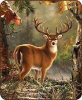 Queen Size White Tail Deer Buck Wood Hunt Mink Faux Fur Blanket Super Soft Plush