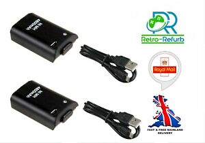 4800mAh Xbox 360 Wireless Controller Rechargeable Battery - Black - x2 or x1