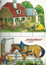 """2 Bastelbogen Modellbogen Ausschneidebogen Set """"Am Bauernhof"""" 60er/70er Nr. 5"""