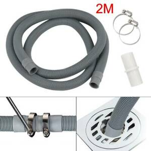 Universal Washing Machine Waste Drain Hose Extension Pipe Kit 2M & Hose Clips