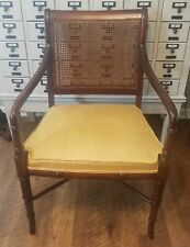 Vintage Hickory Chair Co Regency Mahogany Faux Bamboo Cane Armchair Free ship!