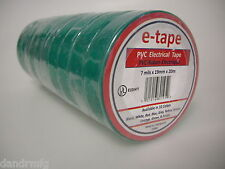 "NEW 10PK PVC ELECTRICAL TAPE 3/4"" x 60' x 7mils GREEN INSULATION ADHESIVE ROLLS"