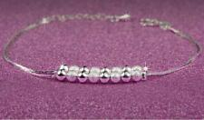 Shiny 925 Sterling Silver PL Small Cute Small Smooth&Matte Ball Bracelet Gift