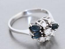 Eleganter Ring Weißgold 585 - 14 karat Gold, Goldring mit Safir + Brillanten