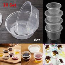 10pcs 8oz Round Deli Food Soup Storage Containers Lids Set Reusable Clear Boxes