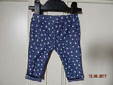 F&F LOVELY BABY GIRLS BLUE WHITE FLORAL JEGGINGS SZ UP TO 3 MONTHS EX COND