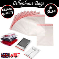 Clear OPP Cello Cellophane Bags Self Seal Large Small For Clothes Cards 16 Sizes