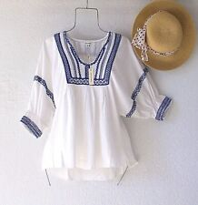 New~$88~White & Blue Embroidered Peasant Blouse Spring Boho Top~Size Medium M