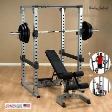 Body Solid GPR378 Power Rack w/ Bench, 300lb Weight Set, Dip Attach, Lat Attach