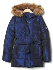 NEW GAP KIDS BLUE SHIMMER DOWN BELTED PARKA COAT S 6-7