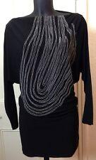 DVF Black Vintage Diane von Furstenberg Cotton/Silk Chain Dress 2 UK8 RRP £390