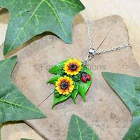 Sunflower Blossoming Pendant Necklace - Polymer Clay Summer Flower Sun Ladybird