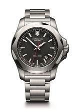 Victorinox Swiss Army INOX Silver Black Quartz Analog Men's Watch 241723.1